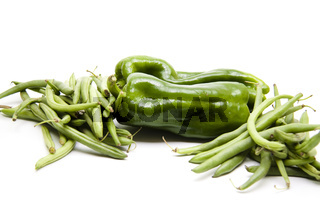 Grüne Paprika mit Bohnen