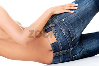 Fit female butt in blue jeans