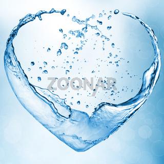 Valentine heart made of blue water splash