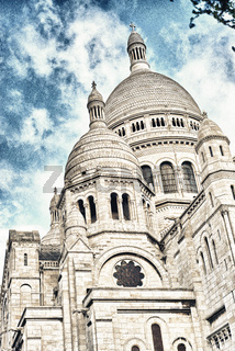 Beautiful street view of Montmarte Quarter in Paris