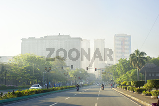 Manila road at sunrise