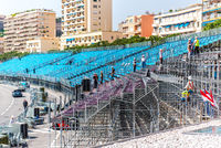 Tribune mounting. Preparation to Formula 1 Monaco Grand Prix