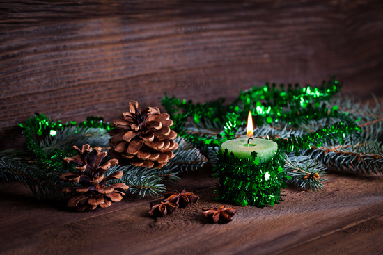 green candle with decoration