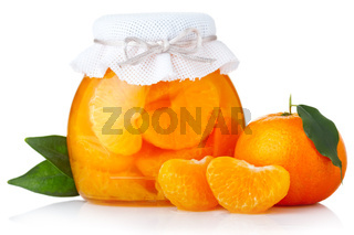 Tangerine jam with ripe fruits isolated