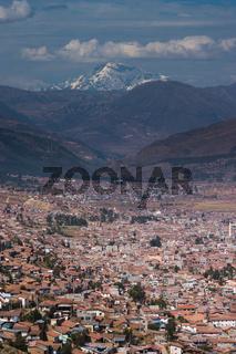 Cusco in Peru shot from Sacsayhuaman