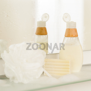 Bathroom body care products on shelf
