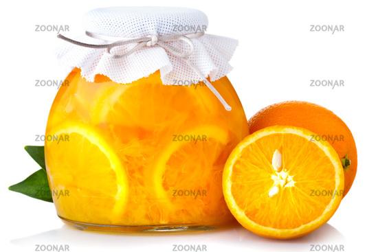Orange jam with ripe fruits isolated