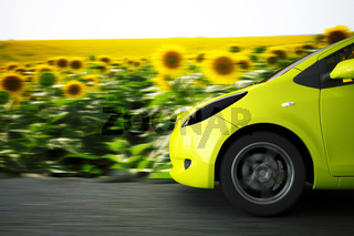 high speed car on a background summer landscape