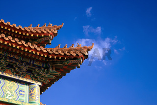 double upturned eaves of chinese temple