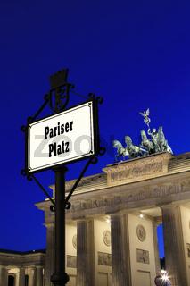 Berlin - Pariser Platz with Brandenburger Tor in background at blue hour
