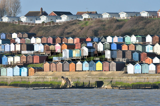 Beach hut and houses