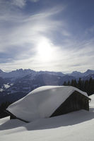 Snow-covered hut, Montafon, Austria