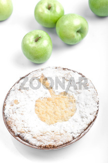 sweet round baked cake with apples