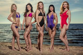 Five beautiful and sexy ladies in bikini posing on the beach