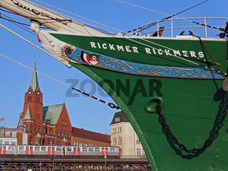 Museumsschiff Rickmer Rickmers im Hamburger Hafen