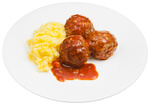 meatballs under meat sauce and mashed potatoes