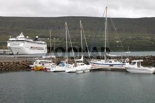 Cruise ship in the Akureyri harbour. Eyjafjörður