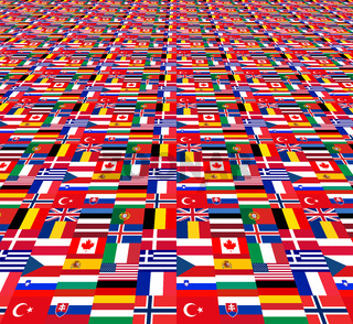 National flags of the NATO countries