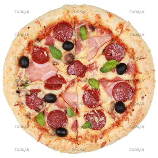 Pizza mit Salami, Schinken und Champignons
