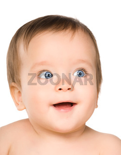 The blue-eyed baby, close-up.