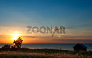 Sonnenuntergang auf der Insel Öland, Schweden