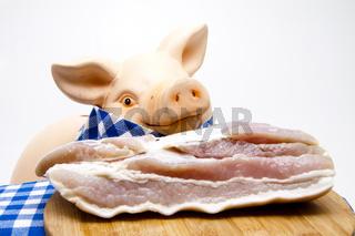 Schweinefleisch mit Schweinekopf