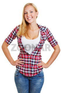 Attraktive blonde Frau lächelt