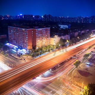 night traffic on the viaduct