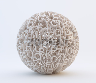Random letters and numbers forming a sphere