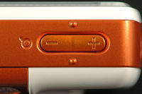 The detail of zoom buttons of modern mobile phone