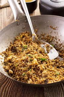 fried rice in wok