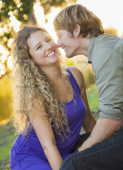 Attractive Loving Couple Portrait in the Park