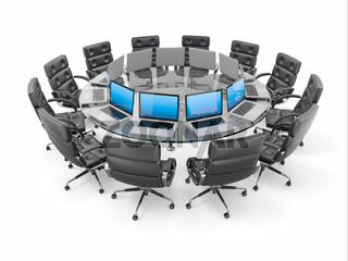 Conference table with laptops and armchairs. 3d