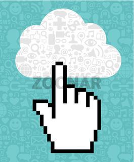 Cloud computing cursor icon hand