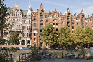 Schöne Fassaden in der Hamburger Speicherstadt, Deutschland