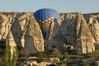 air balloon manoeuvres between tuff rock cones