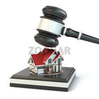 Auction. Gavel, sound block and house.
