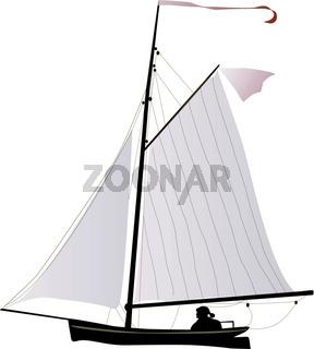 Ein kleines Segelschiff unter vollen Segeln