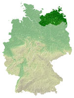 Mecklenburg-Vorpommern - topographical relief map