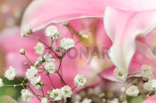 Small white flowers in a bouquet of lilies Shallow DOF
