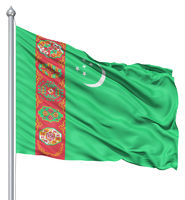 Waving flag of Turkmenistan