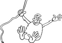 chimp cartoon illustration for coloring