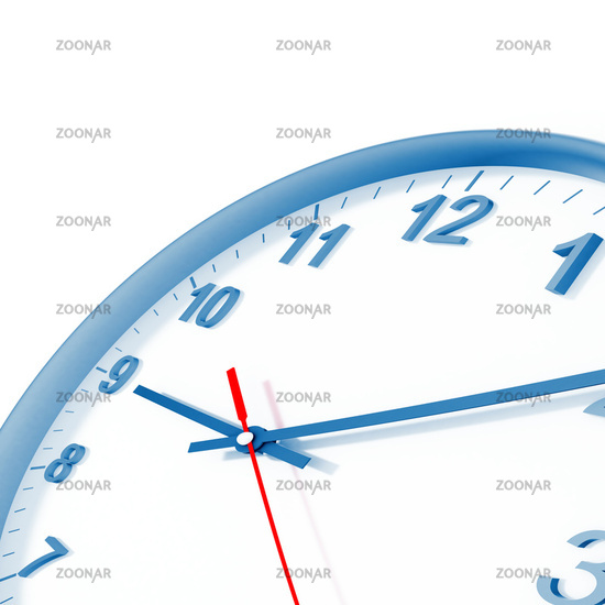 analog clock with blue border and arrows on a whit