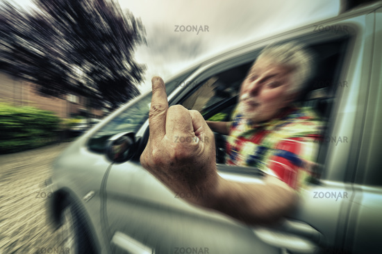 unruly pensioners shows the middle finger