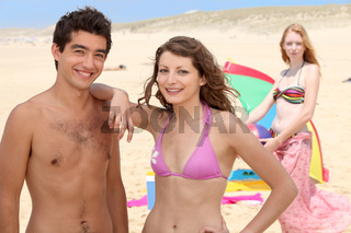Three friends at the beach
