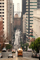 California Street with Cable Car and Bay Bridge
