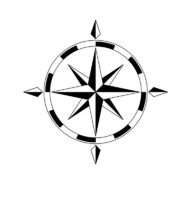 Wind rose compass, isolated on white background