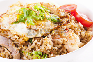Nasi Goreng with fried egg and chicken