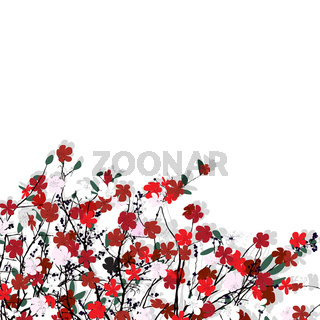 Floral pattern over white