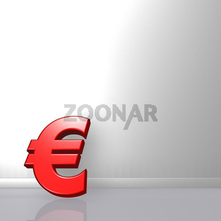 rotes eurosymbol lehnt an weißer wand - 3d illustration